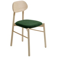 Bokken Chair Beechwood Upholstered with Emerald Green Fine Italian Velvet