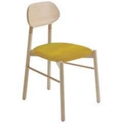 Bokken Chair Beech Wood Upholstered with Yellow Fine Italian Velvet