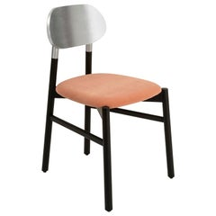Bokken Chair, Black Beech and Silver Leaf, Pale Pink Velvet Seat Modern Design