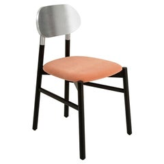 Bokken Chair, Black and Silver Leaf, upholstered with Peach Pink Italian Velvet