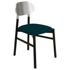 Bokken Chair Black, Silver Leaf Back, Upholstered Ottanio blue Italian Velvet
