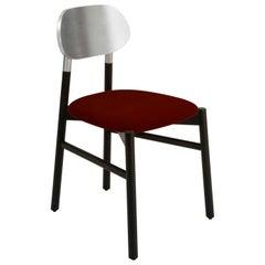 Bokken Chair Black, Silver Leaf Back, Upholstered Red Italian Fine Velvet