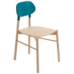 Bokken Chair by Colé, Beech Wood Structure, Turquoise Back, Minimalist Design