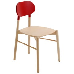 Bokken Chair by Colé, Beechwood Structure, Red back Minimalist Design