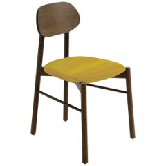 Bokken Chair Canaletto Walnut Wood Upholstered with Yellow Fine Italian Velvet