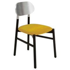 Bokken Chair Upholstered black, Silver Leaf back, Italian Yellow fine Velvet