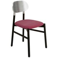 Bokken Chair Upholstered Black, Silver Leaf Back, Malva Violet Fine Velvet