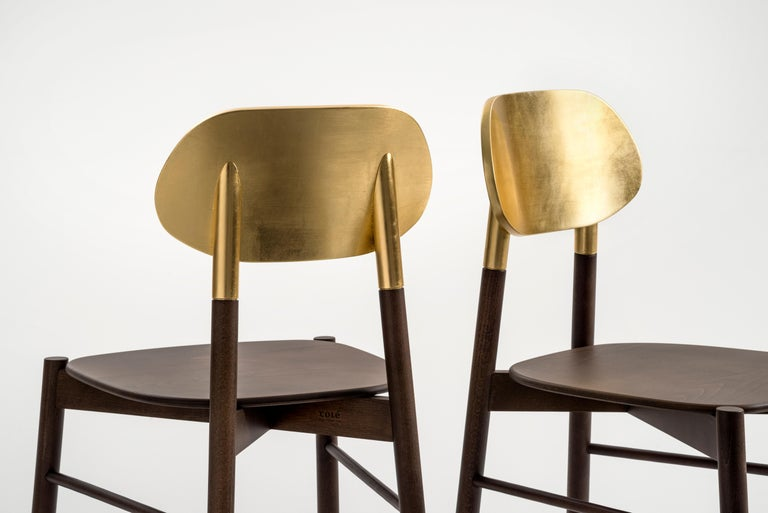 Bokken Chair Upholstered Walnut and Gold Leaf, Minimalist with a Precious Touch For Sale 1