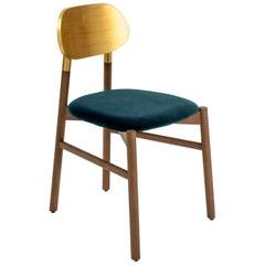 Bokken Chair Upholstered Walnut, Gold Leaf Back, Cobalt Blue Fine Italian Velvet