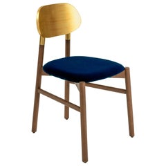 Bokken Chair Upholstered Walnut, Gold Leaf Back, Italian Blue Fine Velvet