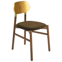 Bokken Chair Upholstered Walnut, Gold Leaf Back, Italian Brown Fine Velvet