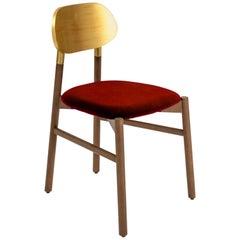Bokken Chair Upholstered Walnut, Gold Leaf Back, Italian Rusty red Fine Velvet