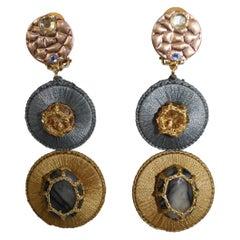 Boks & Baum Silk and Swarovski Crystal Clip Earrings