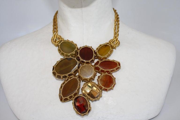 Boks&Baum Earth Tone Semi Precious Statement Necklace In New Condition For Sale In Virginia Beach, VA