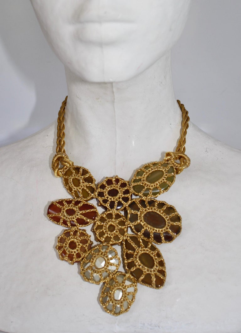 Women's Boks&Baum Earth Tone Semi Precious Statement Necklace For Sale