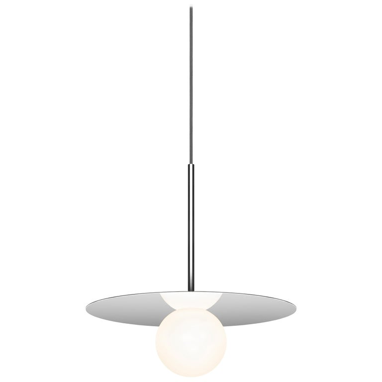 "Bola Disc 12"" Pendant Light in Chrome by Pablo Designs For Sale"