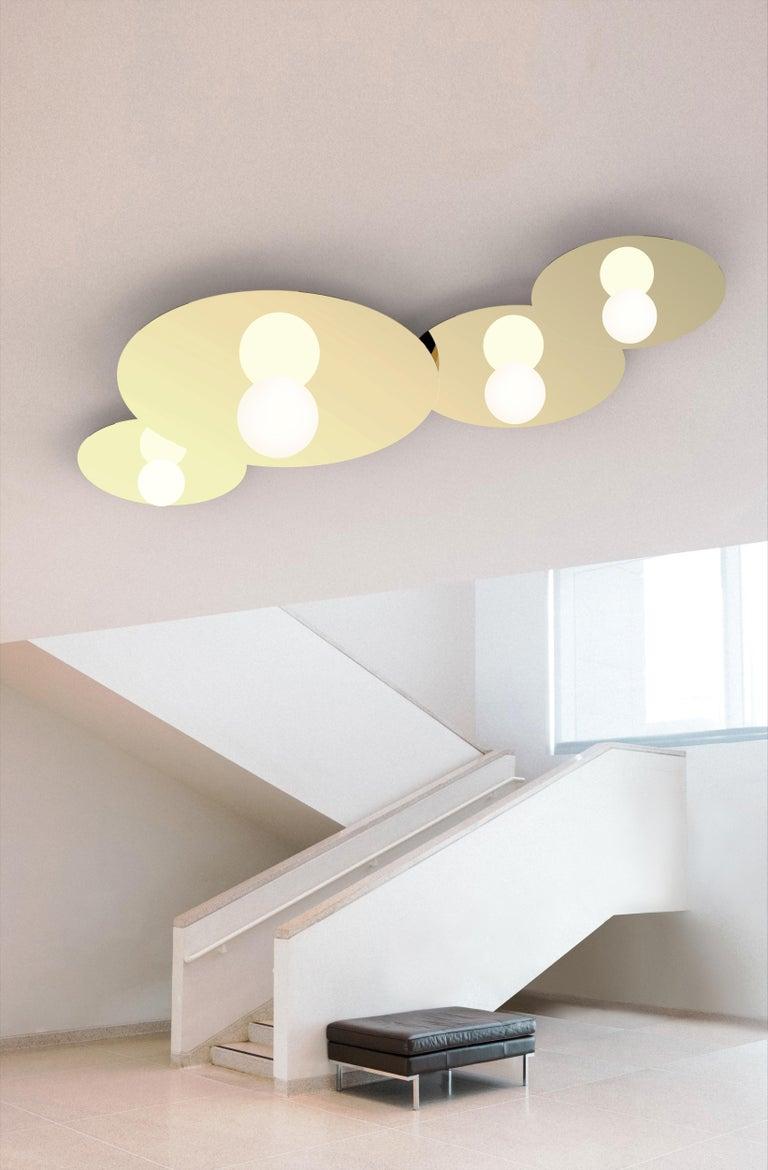 Modern Bola Disc Flush Wall & Ceiling Light in Rose Gold by Pablo Designs For Sale