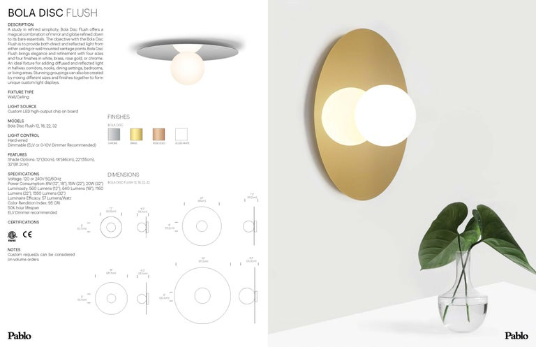 American Bola Disc Flush Wall & Ceiling Light in Rose Gold by Pablo Designs For Sale