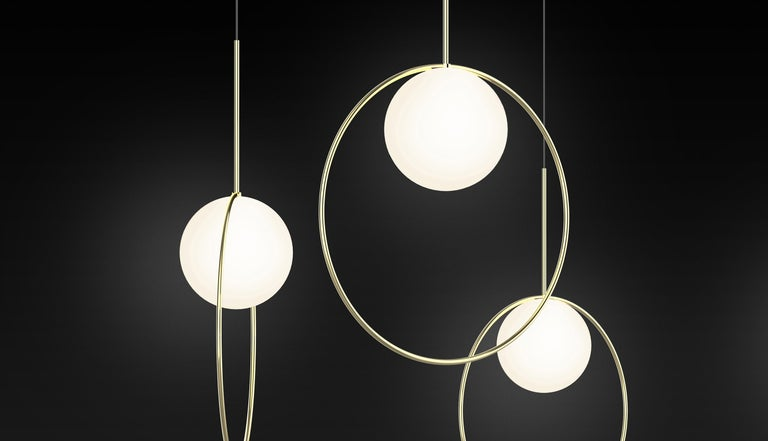 Metal Bola Halo Pendant Light by Pablo Designs For Sale