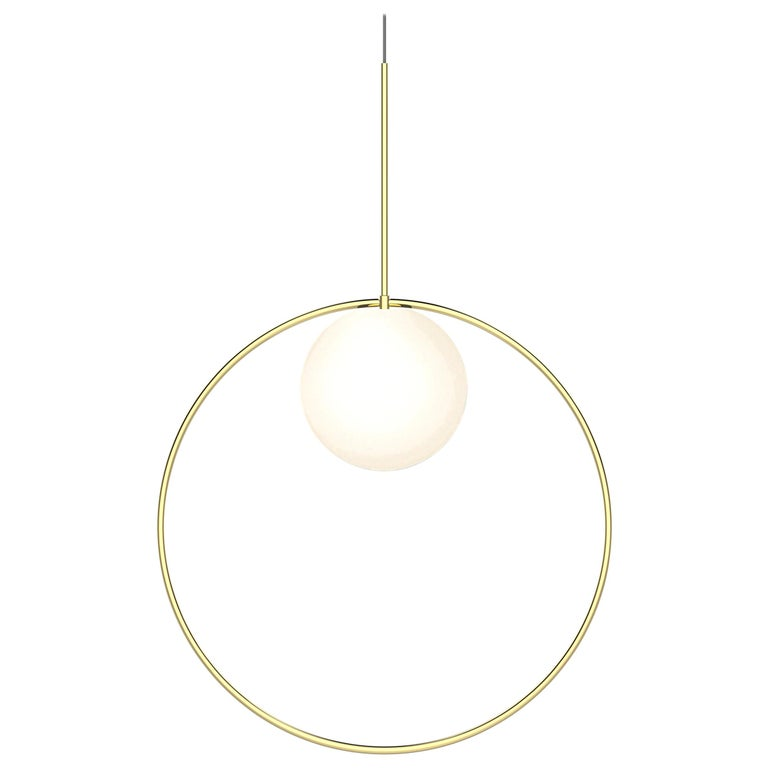 For Sale: Gold (Brass) Bola Halo Pendant Light by Pablo Designs