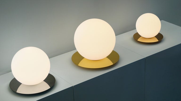 Steel Bola Medium Table Sphere Lamp by Pablo Designs For Sale
