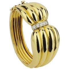 Bold 14 Karat Gold and Diamond Cocktail Bracelet