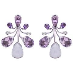 Bold 18 Karat Gold, Lavender Jade, Amethyst, Tourmaline and Diamond Earrings
