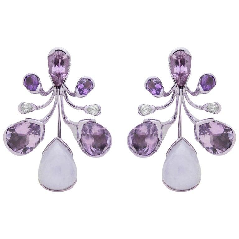 Bold 18 Karat Gold, Lavender Jade, Amethyst, Tourmaline and Diamond Earrings For Sale