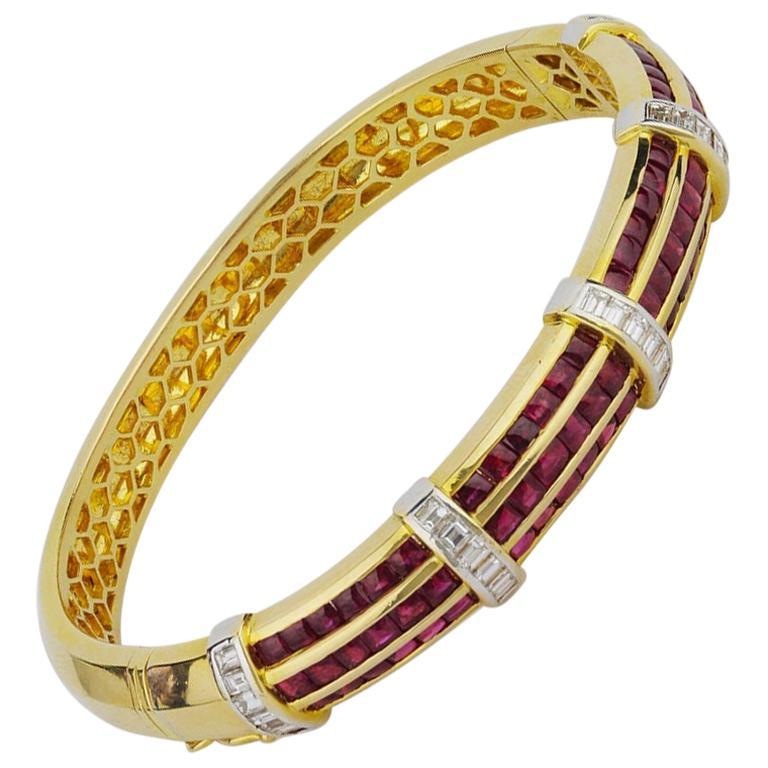 Bold 18 Karat Gold, Ruby and Diamond Hinged Bracelet