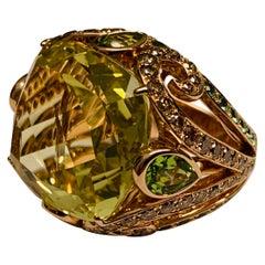 Bold 18 Karat Pink Gold Cocktail Ring with Lemon Citrine Diamonds and Tsavorites