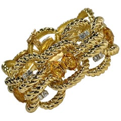 Bold and Beautiful 1970s Citrine, Diamond and Gold Bracelet