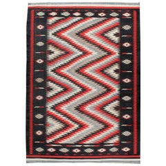 Bold and Geometric Midcentury Indian Dhurrie Rug in Red, Black, Grey, and White