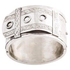 Bold and Rare Victorian Silver Circle Cuff