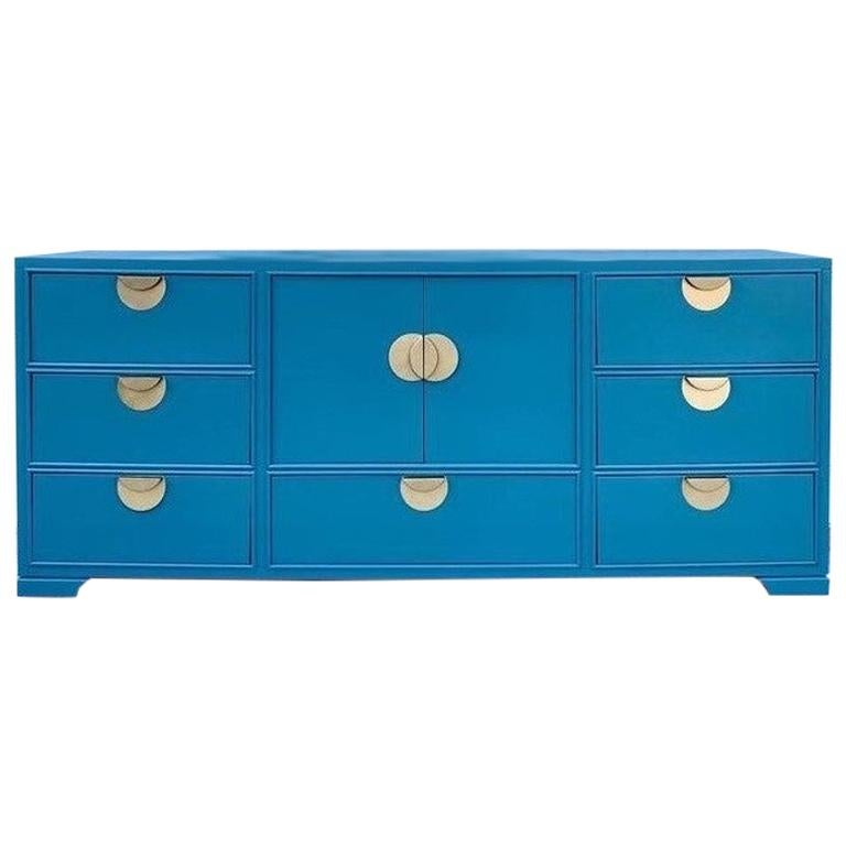Bold Brass and Blue Lacquered Dresser Credenza