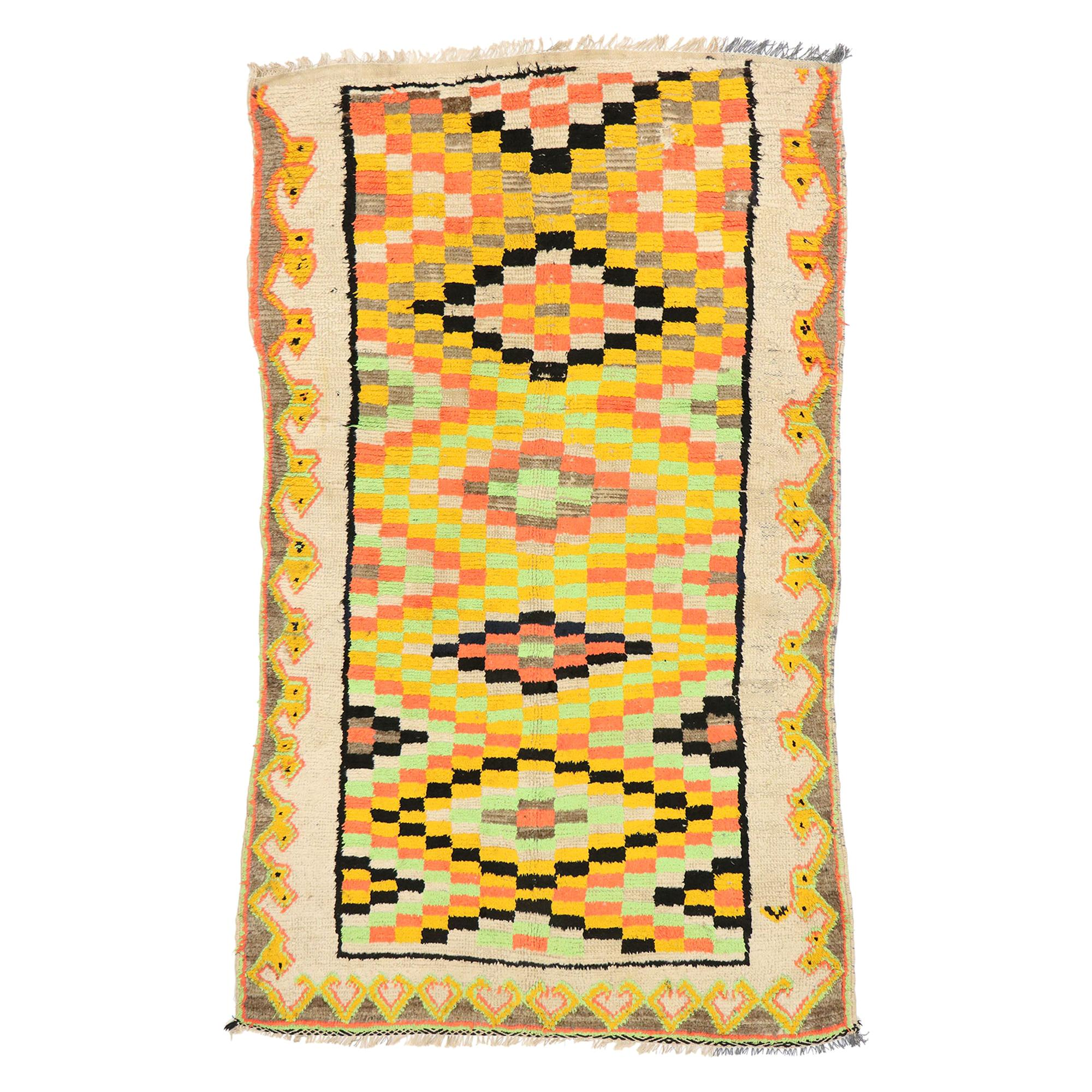 Bold Colored Vintage Berber Moroccan Rug with Cubism Style