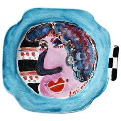 Bold Colorful Modernist Ceramic Hanging Portrait Plate after Jean Cocteau