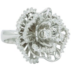 Italian Diamond & White Sapphire Floral Ring 1.84 Carats 18K White Gold