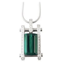 Green Tourmaline Diamond 18K White Gold Contemporary Bold Drop Necklace
