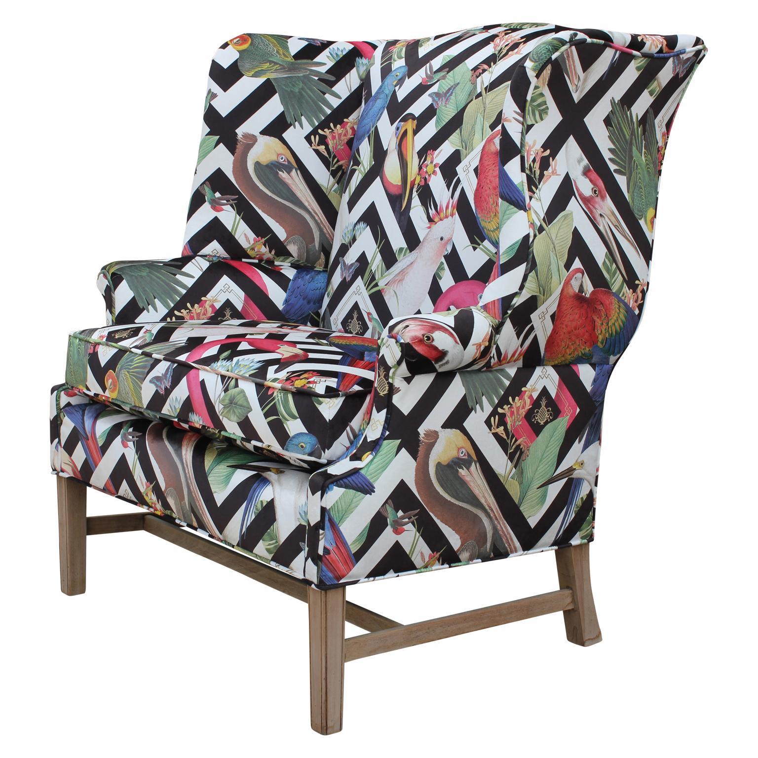 Superieur Bold Geometric Modern Tropical Bird Fabric Wingback Chair And A Half