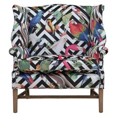 Bold Geometric Modern Tropical Bird Fabric Wingback Chair and a Half