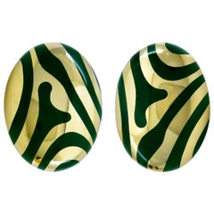 Bold Gold and Green Jade Angela Cummings Ear Clips