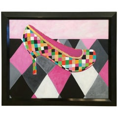 Bold Graphic Contemporary Painting of a High Heeled Shoe
