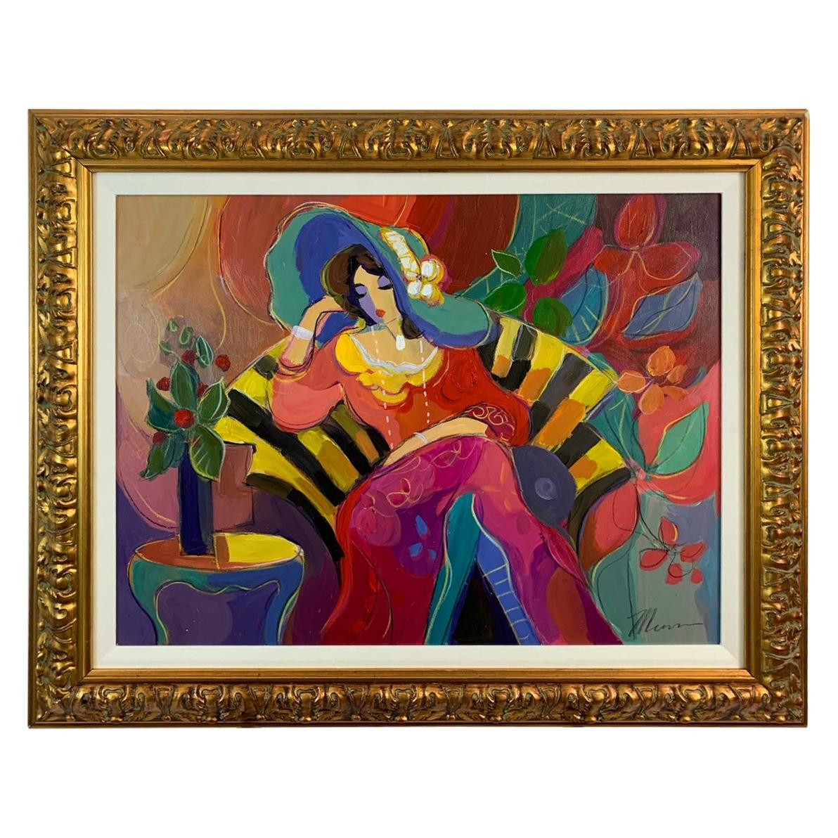 Bold Isaac Maimon Original of Sitting Woman in Yellow & Black Striped Chair