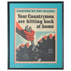 Bold Machine Age WW II British War Propaganda Litho Poster