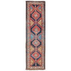 Bold Medallion Design Antique Persian Heriz Runner in Red and Blue Tones