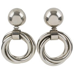 Bold Modernist Chrome Metal Geometric Dangling Clip on Earrings