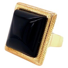 Bold Onyx and Gold Statement Ring