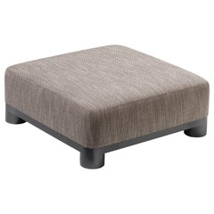 Bold Ottoman in Taupe Fabric with Black Gold Legs by Elisa Giovannoni