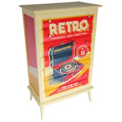"Bold ""Pop Art"" Cabinet with Retro ""Music Box Party"" Image"