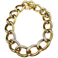 Bold Seamless Chunky Diamond 18k Gold Chain Choker Necklace with Invisible Clasp